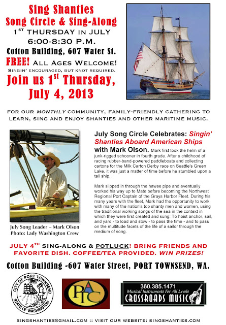 Join us for Our Sing Shanties July 4th Celebration & Song Circle with Mark Olson
