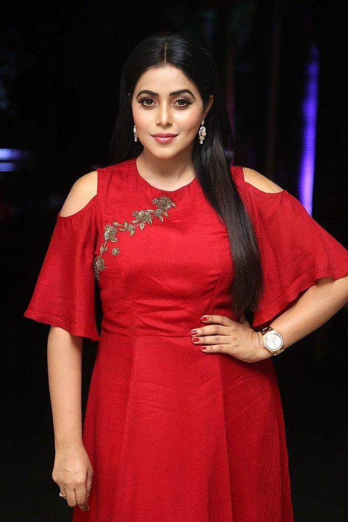 Beautiful Telugu Girl Poorna Long Hair Stills In Red Dress