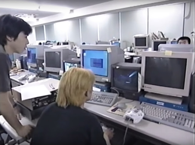 The Shenmue development studio (screenshot from the NHK Making Of Shenmue documentary)