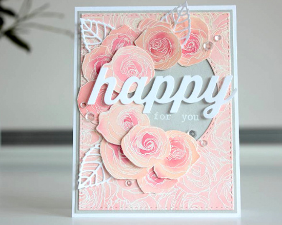 Roses All Over Background stamp. Layered Leaves and Happy Duo Die-namics - Amanda Korotkova #mftstamps
