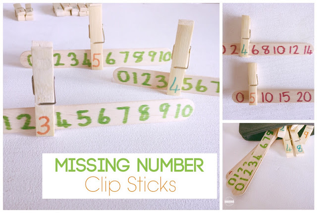 Number Lines missing numbers clip sticks