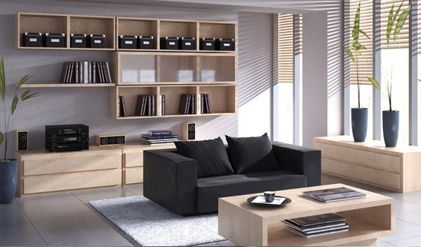 warna hitam dan putih selalu menciptakan pernyataan yang berani Ruang Tamu Modern Kontemporer Hitam dan Putih