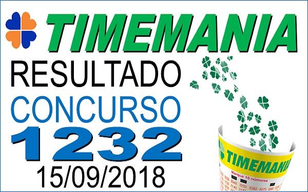 Resultado da Timemania concurso 1232 de 15/09/2018 (Imagem: Informe Notícias)