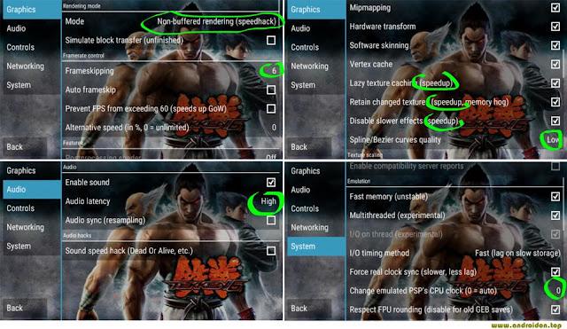 Gambar setting grafis, audio dan sistem pada saat bermain game Tekken 6 di android