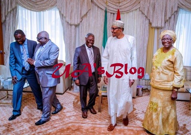 Buhari Hosts Pastor Kumuyi & Wife, Esther In Aso Rock (Photos)