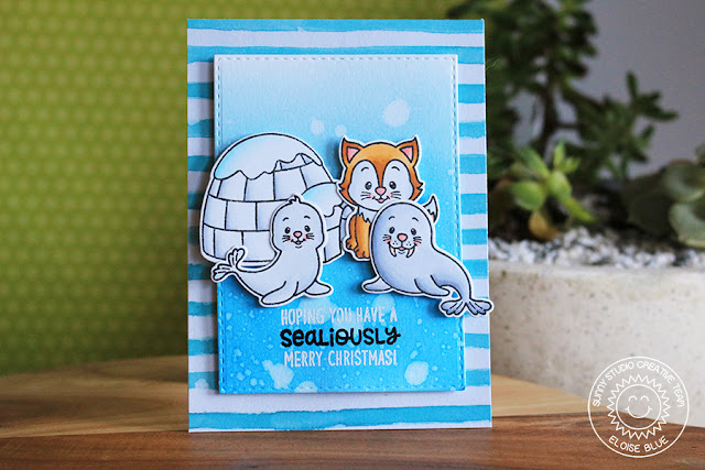 Sunny Studio Stamps: Polar Playmates Winter Scene Christmas Card by Eloise Blue