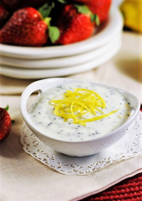 Lemon-Poppy Seed Dip with Fresh Strawberries Image