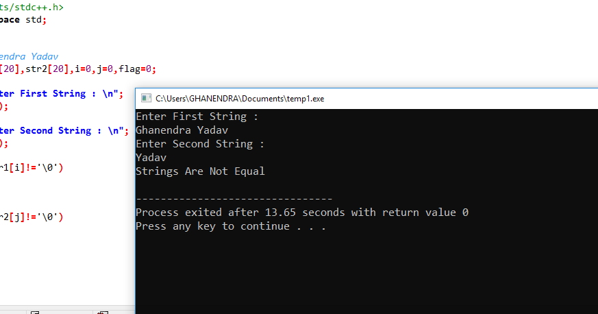 C Program to Compare Two Strings Without Using strcmp Function