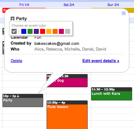 Google Calendar Event Color Choice