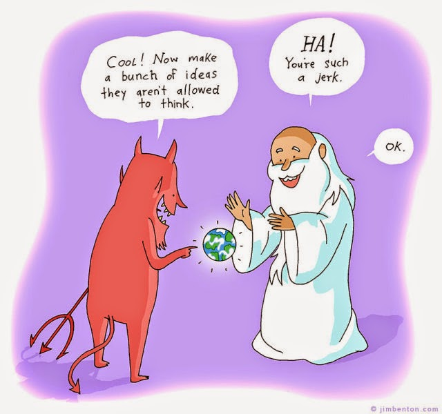 Funny Jerk Satan God Cartoon Picture