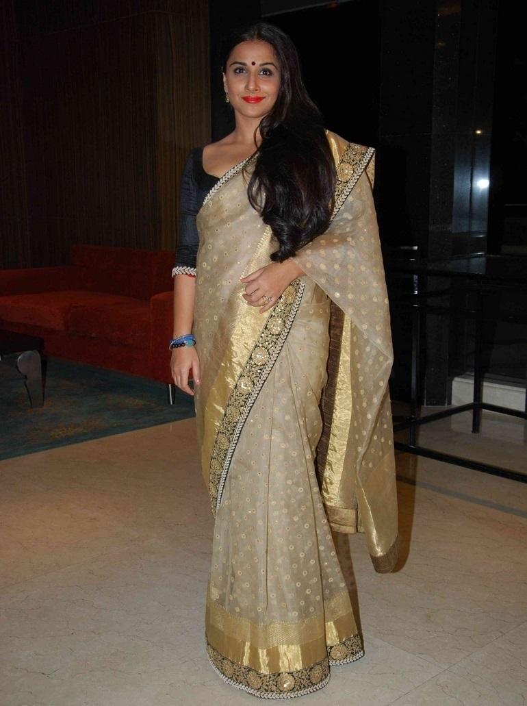 Actress Vidya Balan Long Hair In Yellow Saree