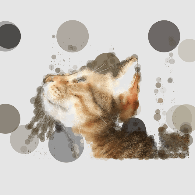 This generative art is a cat photo in polka‐dot pattern.