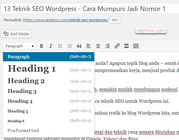 Heading Blog SEO WordPress