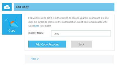 Выбор названия для аккаунта Copy.com на MultCloud.com