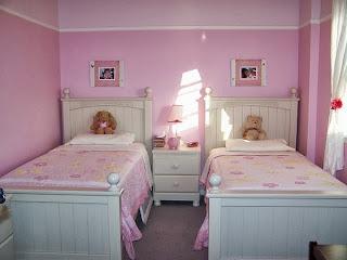 Dormitorio para dos niñas color rosa