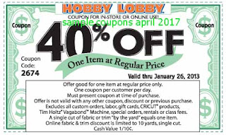 Hobby Lobby coupons for april 2017