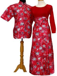 Long Dress Batik Kombinasi Polos