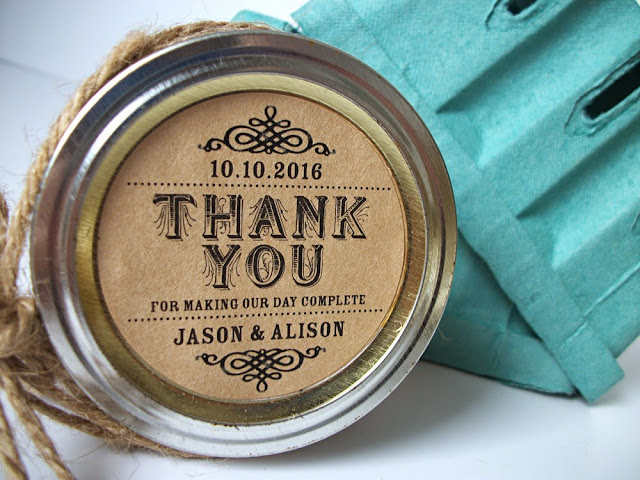 custom thank you wedding label