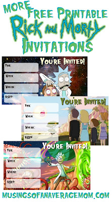 free rick and morty printable invitations
