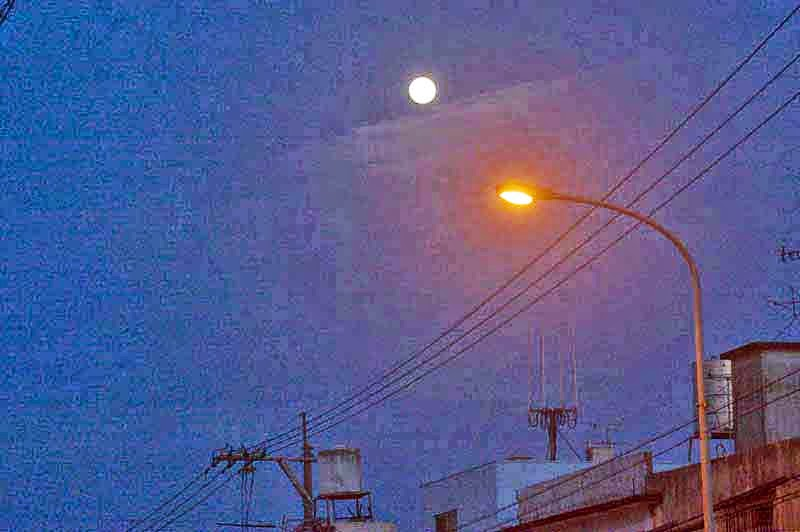 street scene, full moon