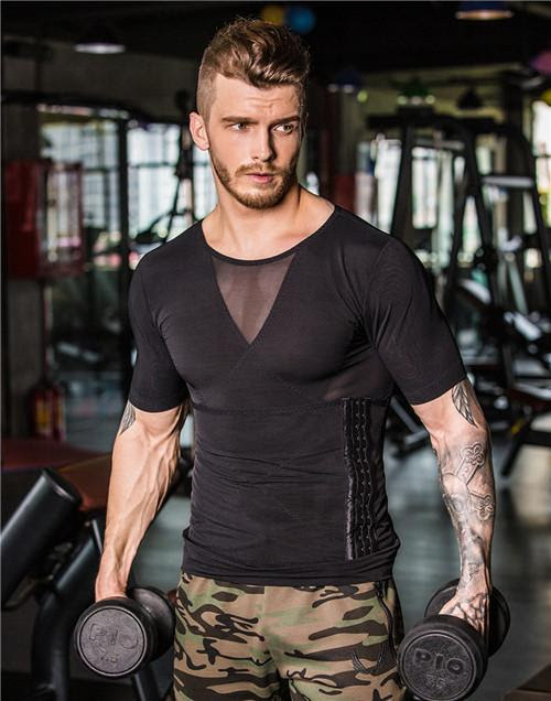Men's Body building Slimming Posture Compression Fitness Shirt