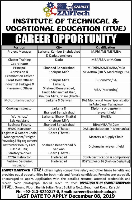 Institute Of Technical And Vocational Education Jobs December 2019