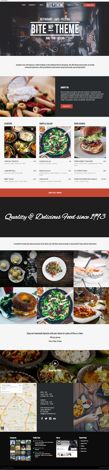 theme wordpress nha hang quan bar