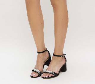 sandale cu toc mic gros negre de zi ieftine