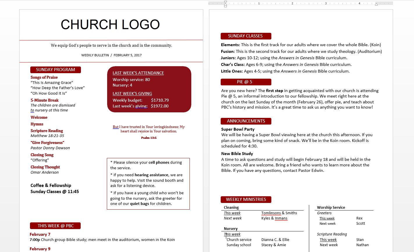 Free resource friday bulletin templates for Sample church bulletins templates