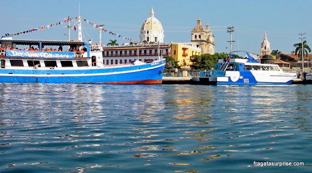 Cartagena, Colômbia, Muelle de los Pégasos, local de partida dos passeios de barco às Ilhas do Rosário