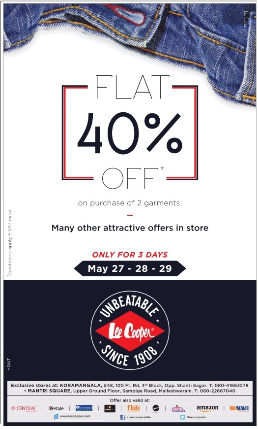 Flat 40% discount on Lee Cooper | May 2016 discount offer
