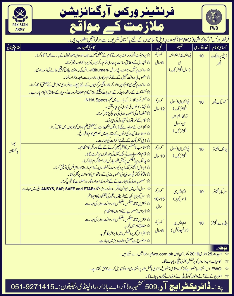 Frontier Works Organization (FWO) Latest New Jobs 2019    frontier works organization fwo  www.fwo.com.pk jobs 2019  fwo jobs 2019  fwo jobs 2019 civil engineering  fwo job application form  fwo fresh jobs  fwo jobs advertisement 2019  fwo jobs 2019 smart motorways