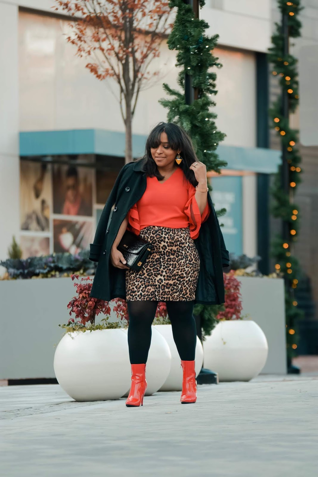 Holiday outfit ideas, red with leopard, holiday looks, lookbookdaily, holiday party oufit, bell sleeve