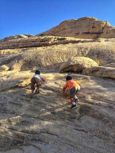 Climbing the rocks on Calico Tanks Trail