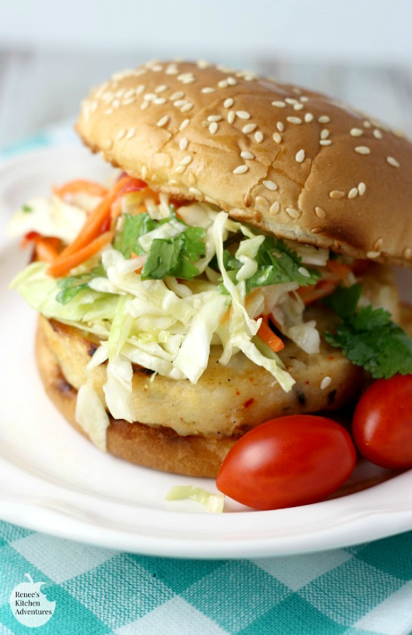 Alaskan Pollock Burgers with Spic Orange-Ginger Slaw