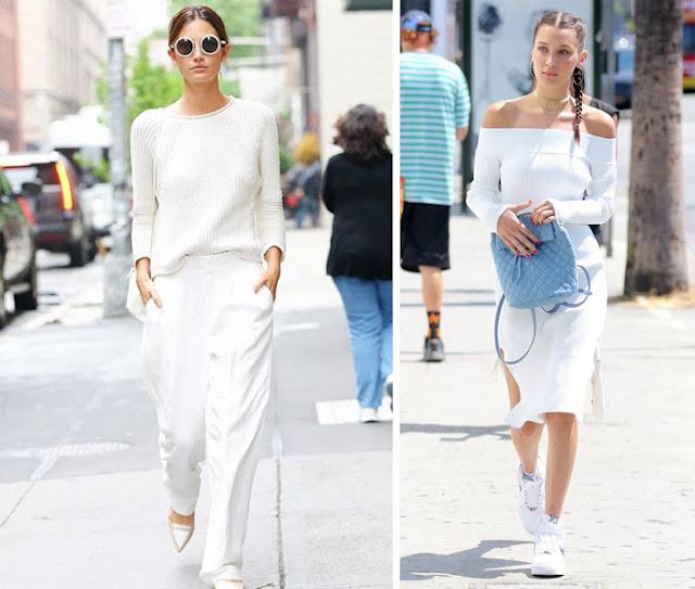 Девушки в белой одежде с белой обувью