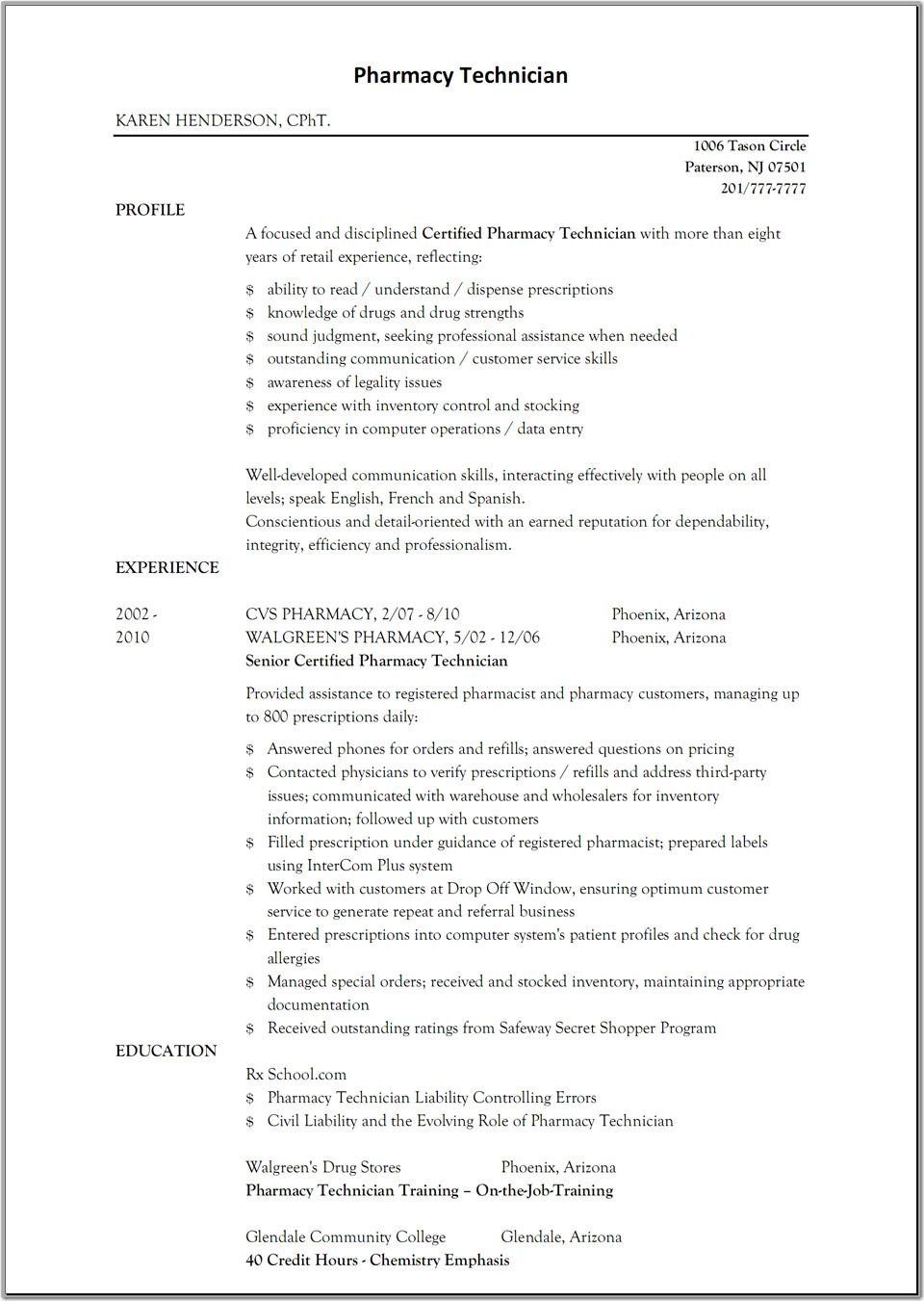 sample resume for pharmacy technician