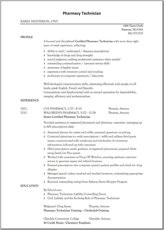 pharmacy technician resumes