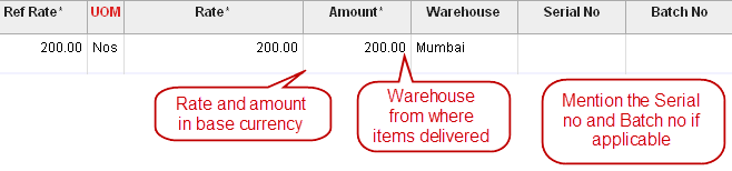 delivery note number