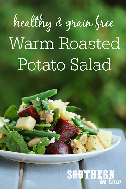 Healthy Warm Roasted Potato Salad Recipe - gluten free- grain free, low fat, vegetarian, meat free, meatless, side dish, green beans, beetroot, feta cheese, cannellini beans
