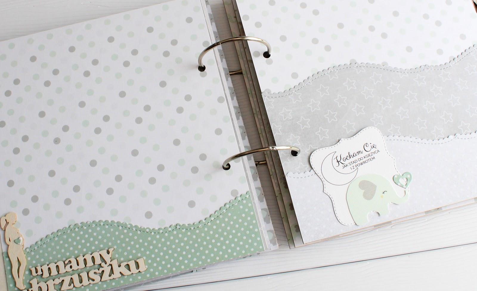 ciąża album ciążowy handmade rękodzieło ciążownik prezent baby shower przyszła mama pamiętnik ciążowy 9 miesięcy dziennik scrapbooking sylwetki kobieta w ciąży scrapiniec