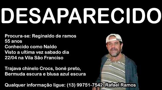 Desaparecido Reginaldo de Ramos em  Registro-SP