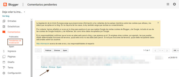 Comentarios de blogger en la intranet
