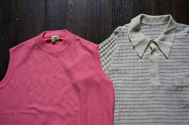 60s 70s knit polo sleeveless pink top shirt 1960s 1970s mod twiggy vintage annees 60 70
