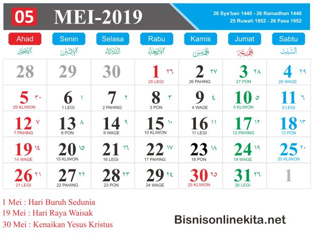 kalender 2019 mei