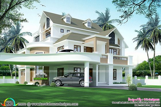 Cute luxury house plan in Kerala