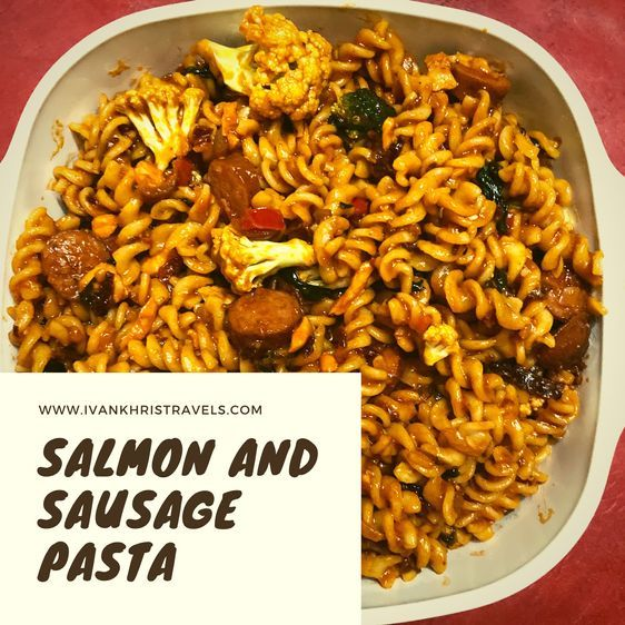 delicious and indulgent salmon and sausage pasta recipe