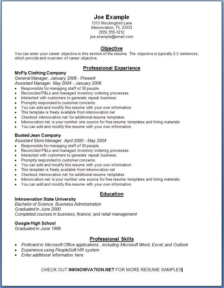 examples of a job resumes
