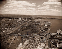 photo: aerial of Toronto waterfront railway trackage in early 1950s