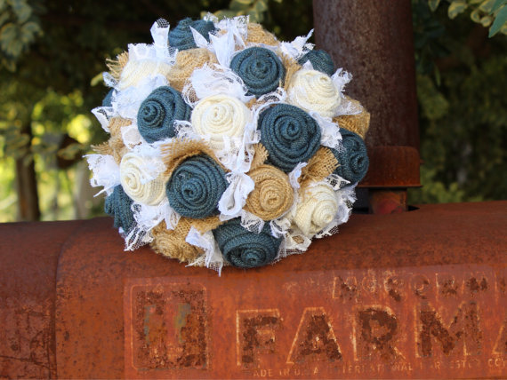 rustic navy jute bouquet
